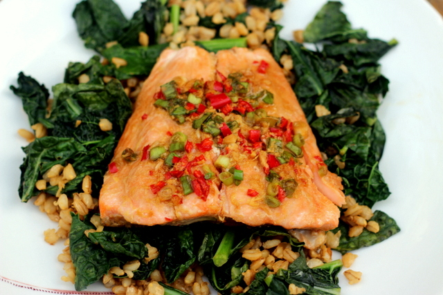 Marinated salmon with garlicky kale and barley