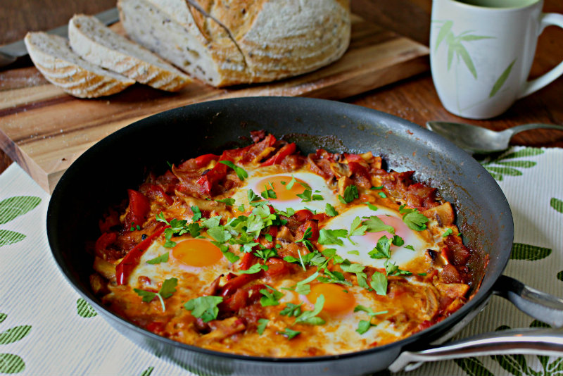 Eggs baked in a delicious tomato base - the perfect Sunday brunch