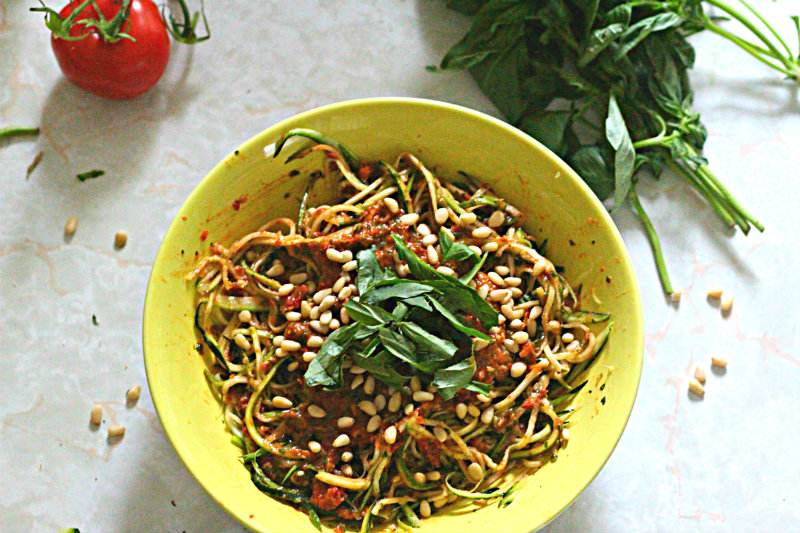 zucchini pasta two-tomato pesto - to her core