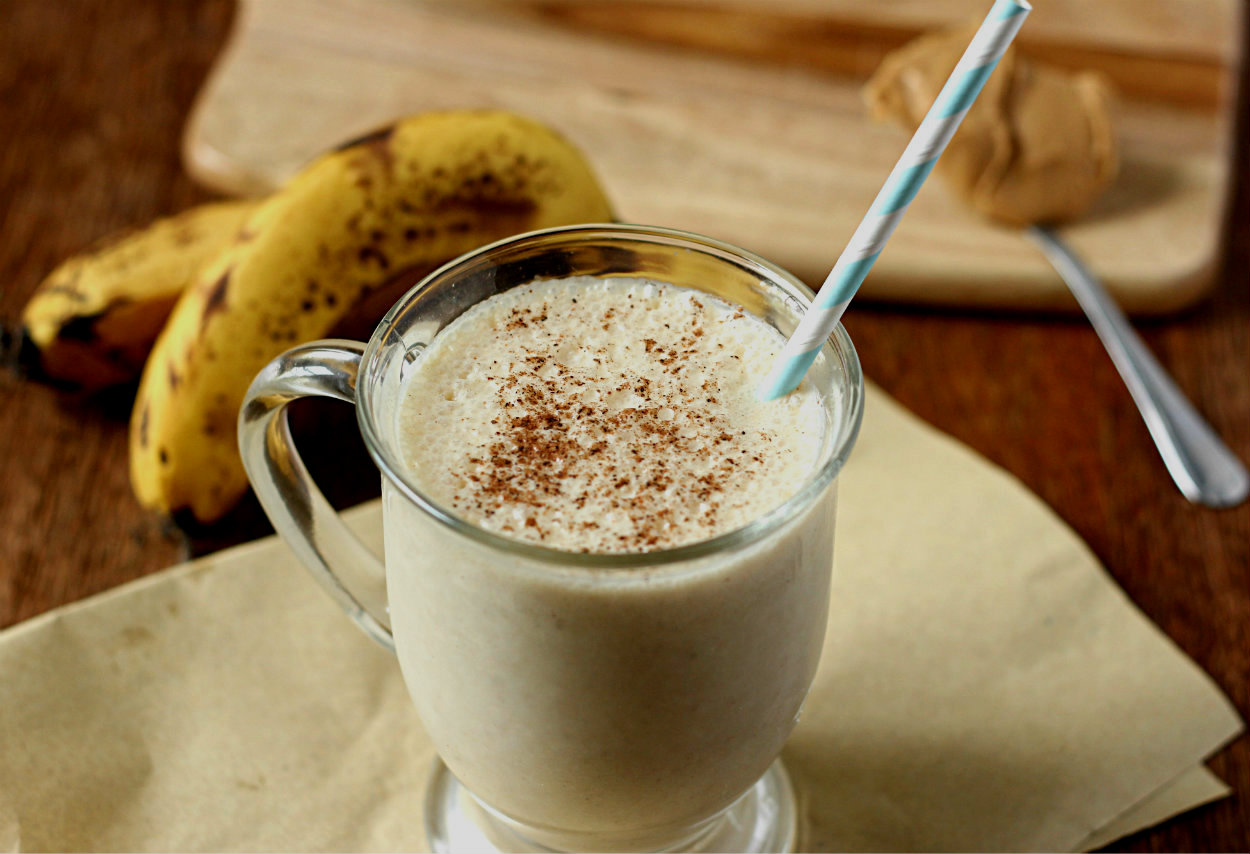Malted peanut butter and banana smoothie
