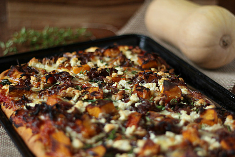 A soft, wholesome pizza based with the perfect combination of toppings - roast pumpkin, caramelised onion and walnut