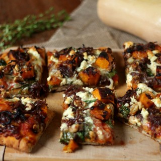 Roast pumpkin, caramelized onion and walnut pizza