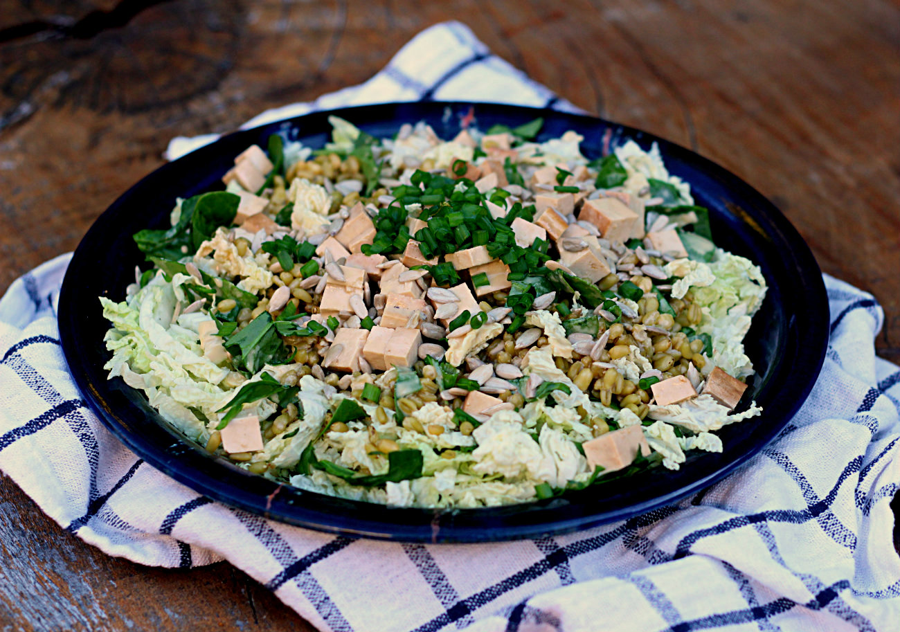 Shredded cabbage salad with freekeh and smoked tofu