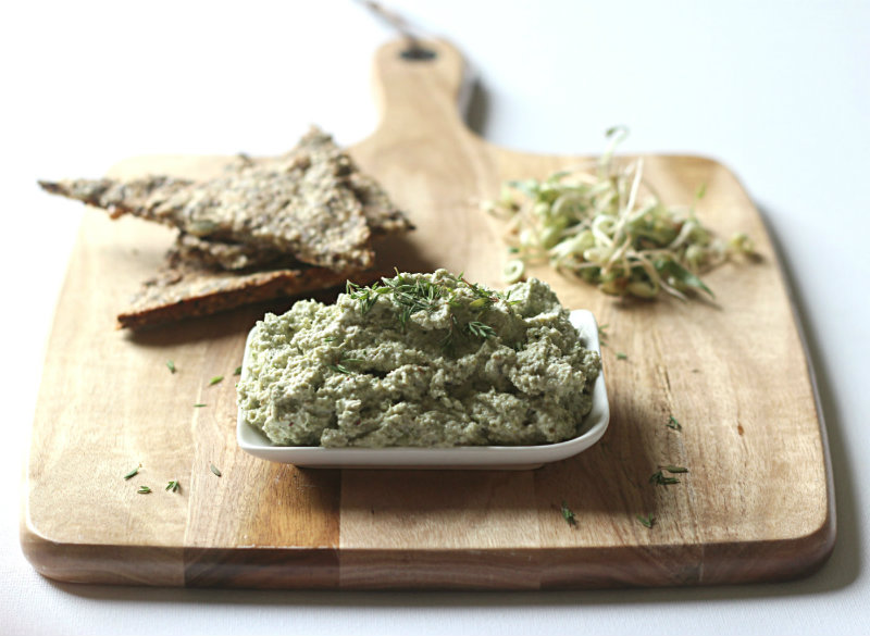 Tasty and healthy sprouted mung bean dip with sunflower seeds