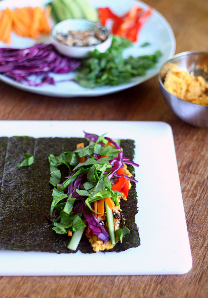Grain-free nori wraps with roasted carrot hummus and marinated mushrooms. Gluten/grain/dairy free ||to her core