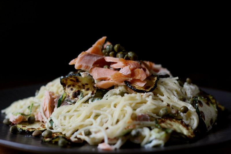 smoked salmon pasta with zucchini and horseradish - to her core