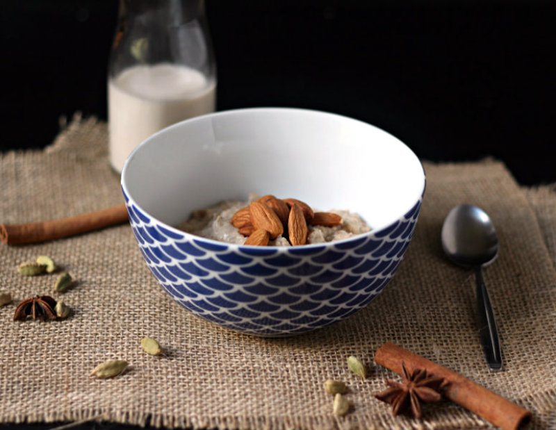 A creamy, wholesome bowl of chai-spiced oats - the perfect warming dish for those cold winter mornings.