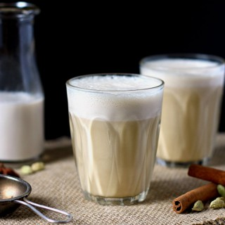 Fresh and frothy almond milk flavoured with chai spices || to her core