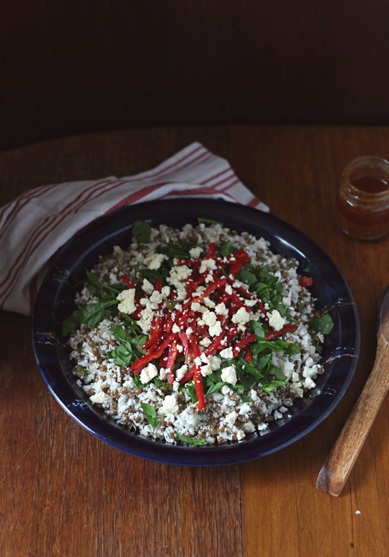 Chopped cauliflower and lentil salad with smokey chermoula