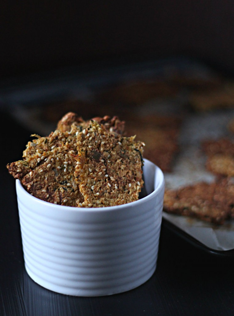 Tasty paleo crackers made with seeds, vegetables and Japanese flavours || to her core