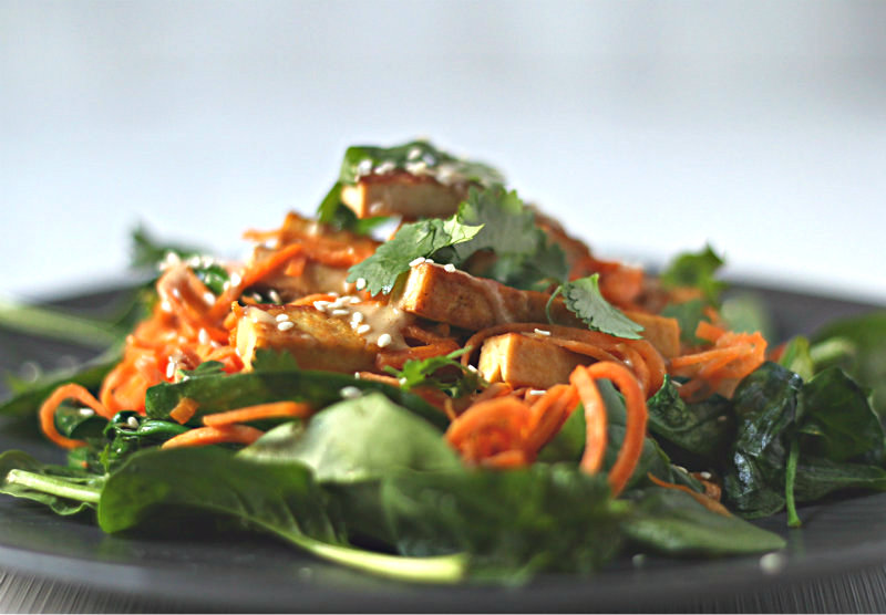 Sweet potato noodles with tofu and miso-tahini dressing || to her core