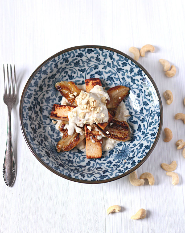 Caramelised banana tofu with cashew coconut cream - to her core