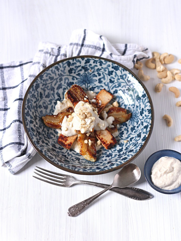 Caramelised tofu banana with coconut cashew cream
