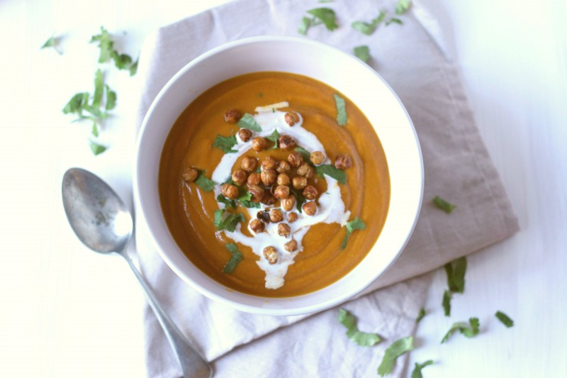 Honey-roasted carrot, coriander and ginger soup with crunchy chickpea croutons