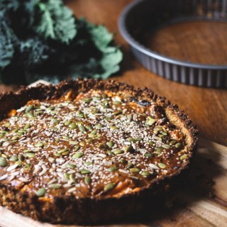 Roasted root vegetable pie with peanut glaze