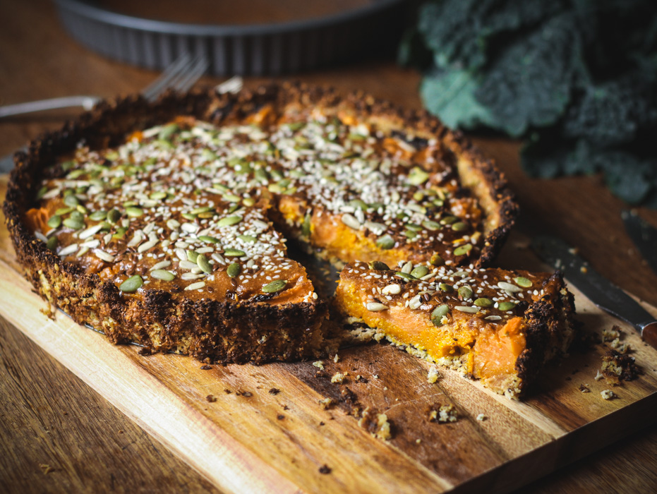 Savoury roasted pumpkin pie with peanut glaze - to her core