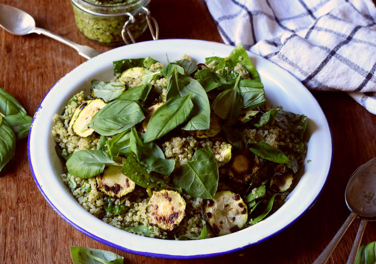 Fried zucchini, basil and quinoa salad with broccoli pesto -- to her core