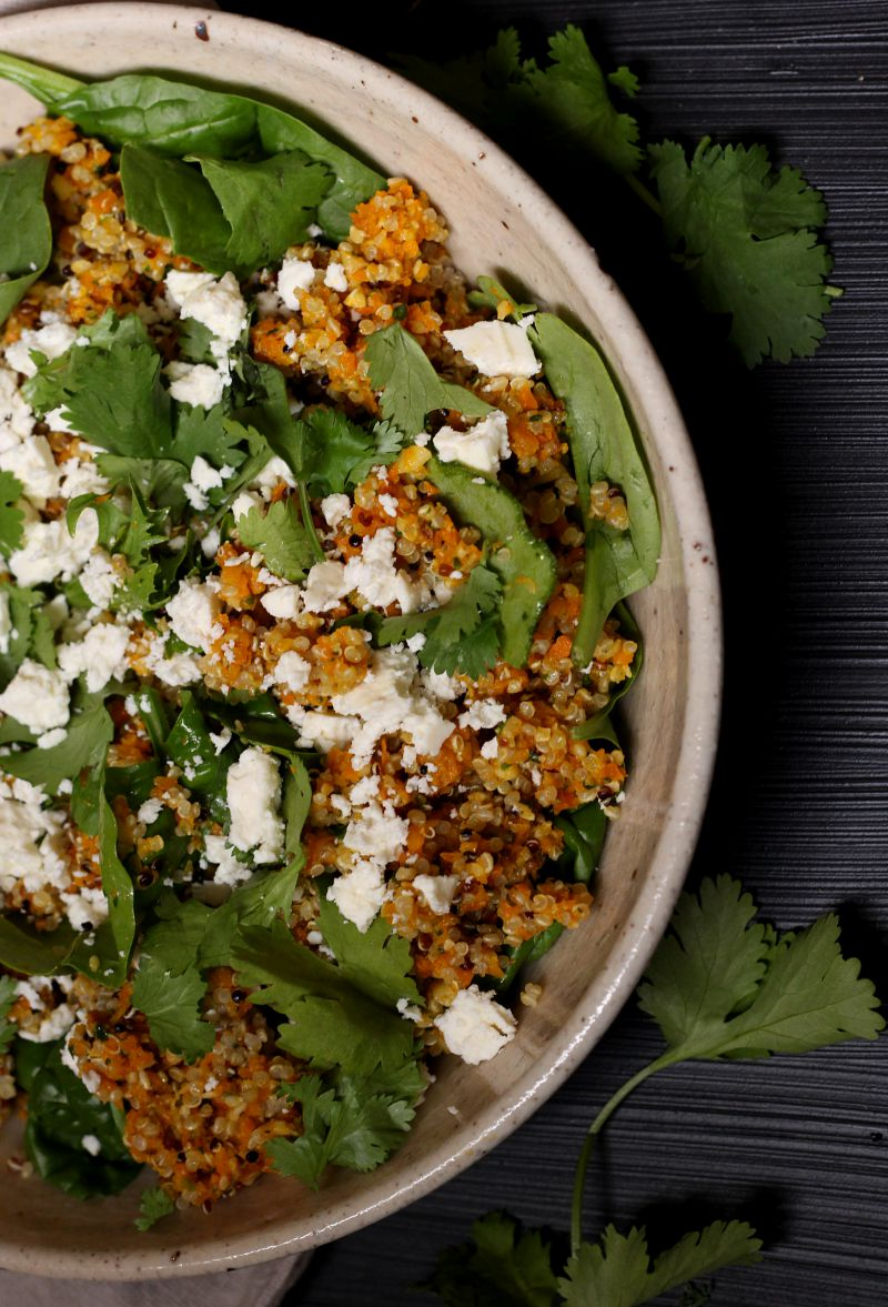 carrot and coriander pesto quinoa salad - to her core