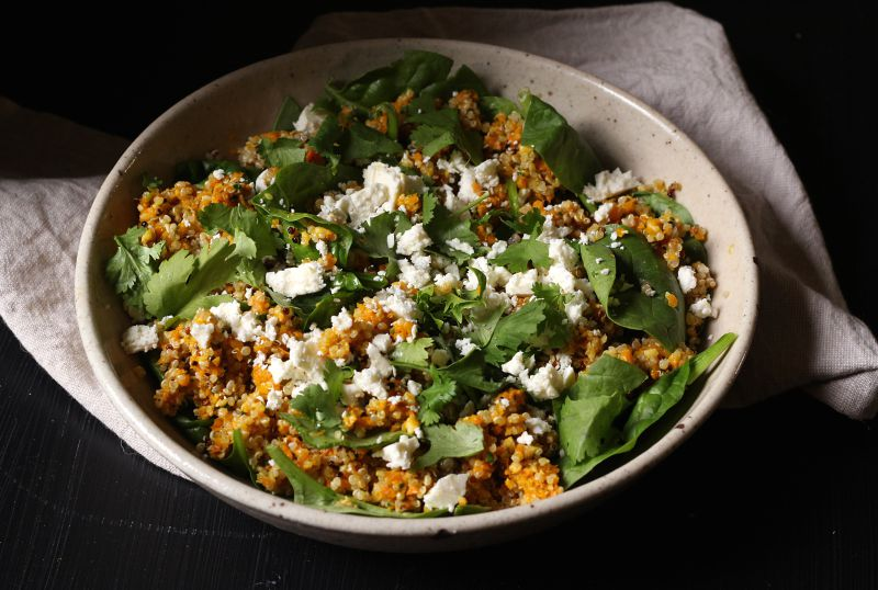 Quinoa salad with roasted carrot and coriander pesto