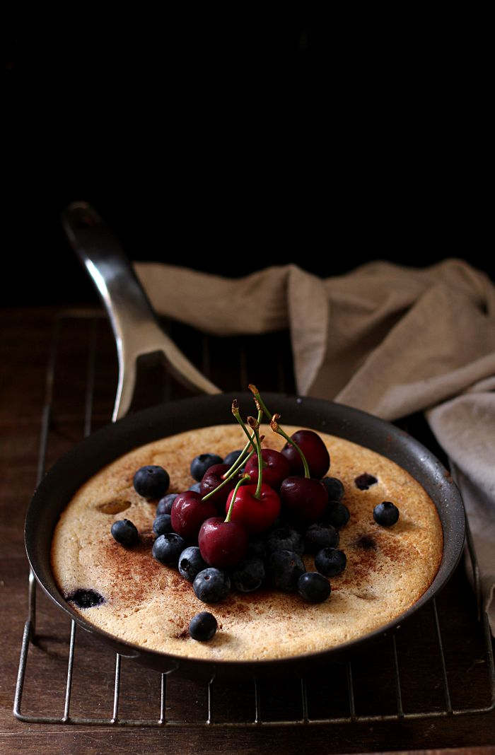 Spiced pear and blueberry skillet cake