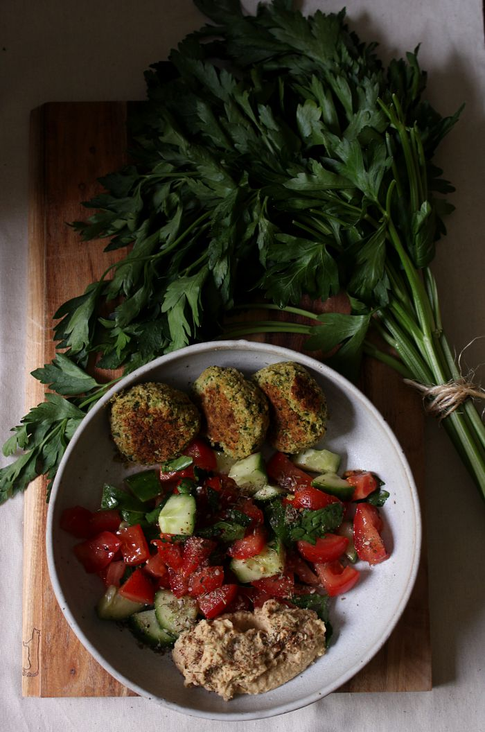 Baked broccoli and herb falafel - to her core