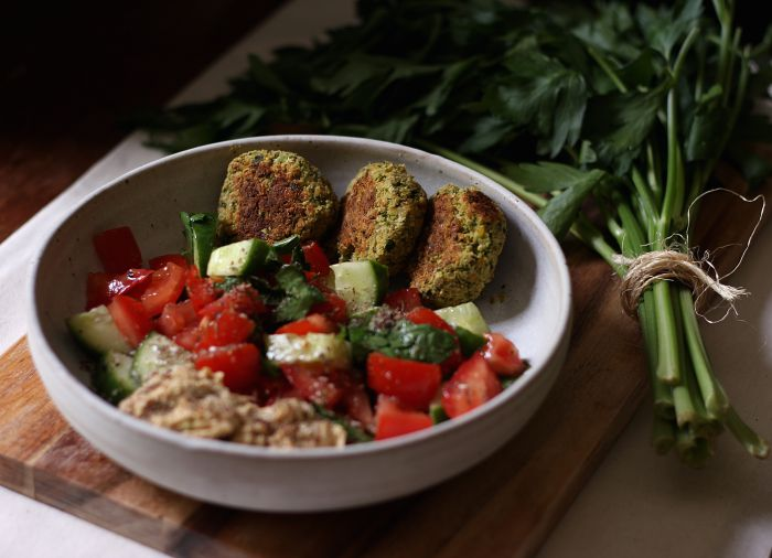 Herbed broccoli falafel - to her core