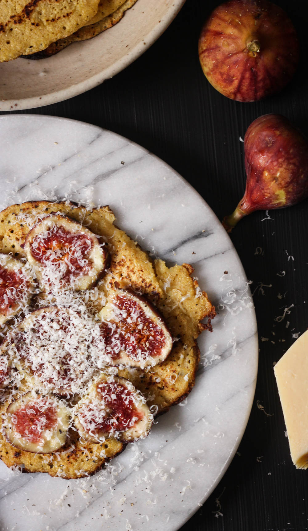 Stove-top socca with fresh figs, Parmesan and cracked pepper || to her core