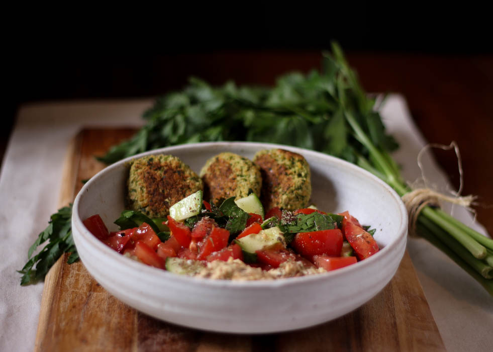 Baked + herbed broccoli falafel  - to her core