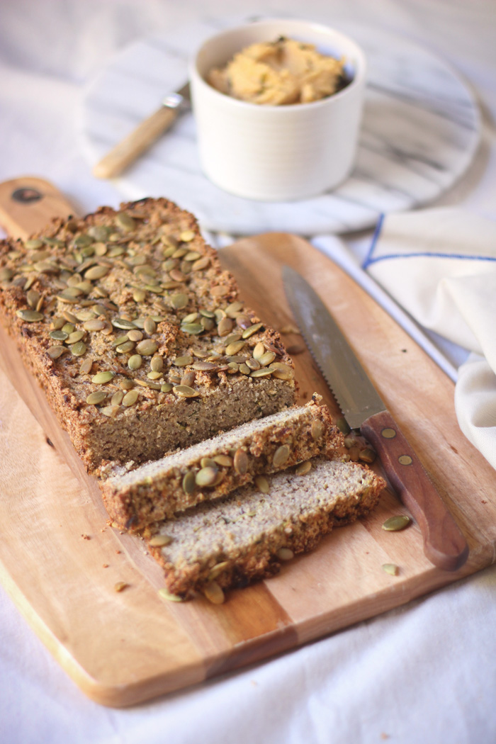 A tasty, nourishing gluten-free savoury loaf filled with oats and quinoa and flecks of zucchini