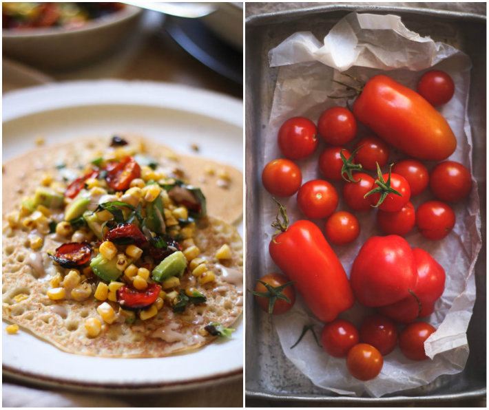Easy soaked buckwheat pancakes with roasted tomato salsa - to her core