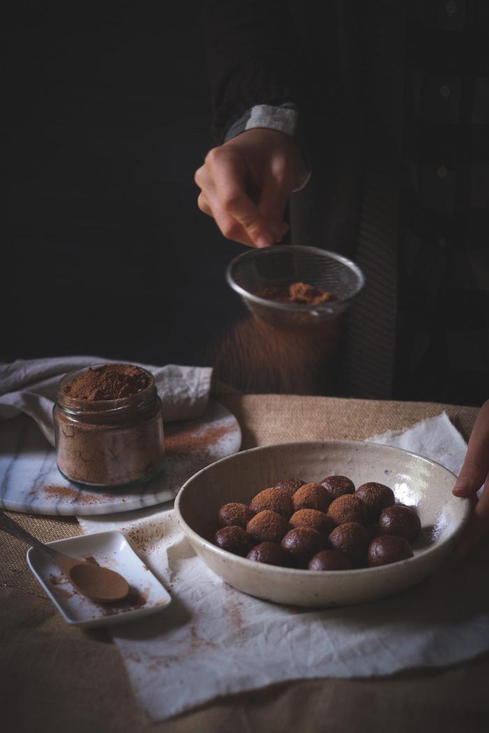 Fudgy chocolate hazelnut truffles