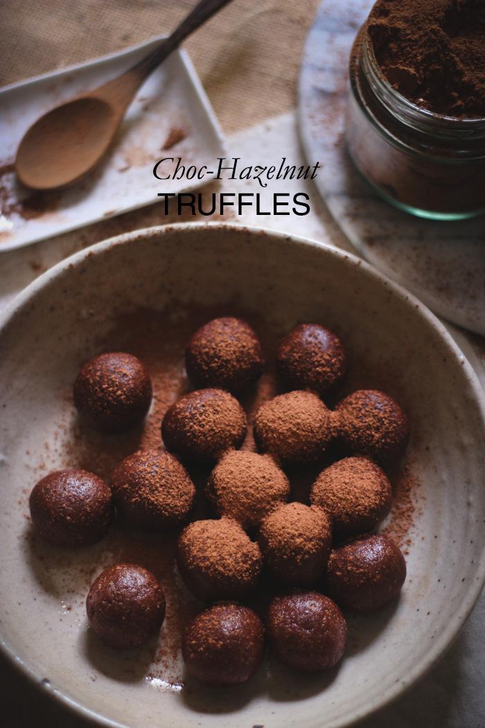 Fudgy chocolate-hazelnut truffles - to her core TEXT