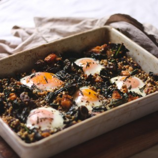 Buckwheat and salmon baked eggs - to her core