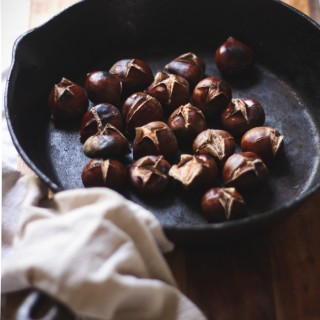 Chestnuts oven roasted in a cast iron skillet - to her core