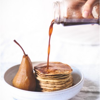 Sprouted barley pancakes with chai-poached pears