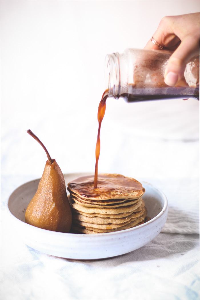 sprouted barley pancakes with chai-poached pears - to her core