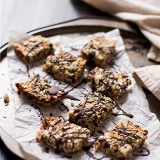 Double chocolate + pear muesli bars