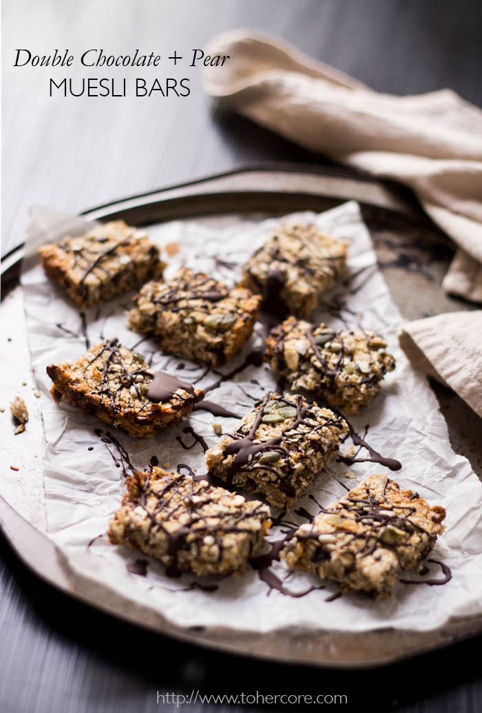 Chocolate + pear muesli bars