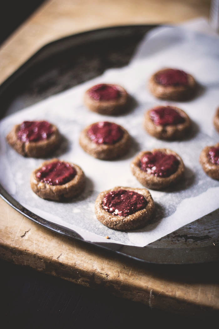 Roasted almond butter thumbprint cookies - to her core