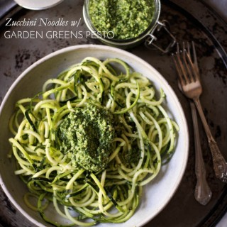 Spring-time zucchini noodles with garden greens pesto