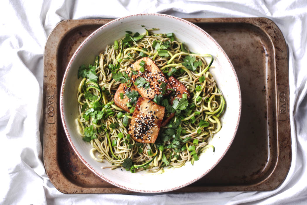 Soba noodles with ginger-spiked green dressing and roasted tofu 1  - to her core