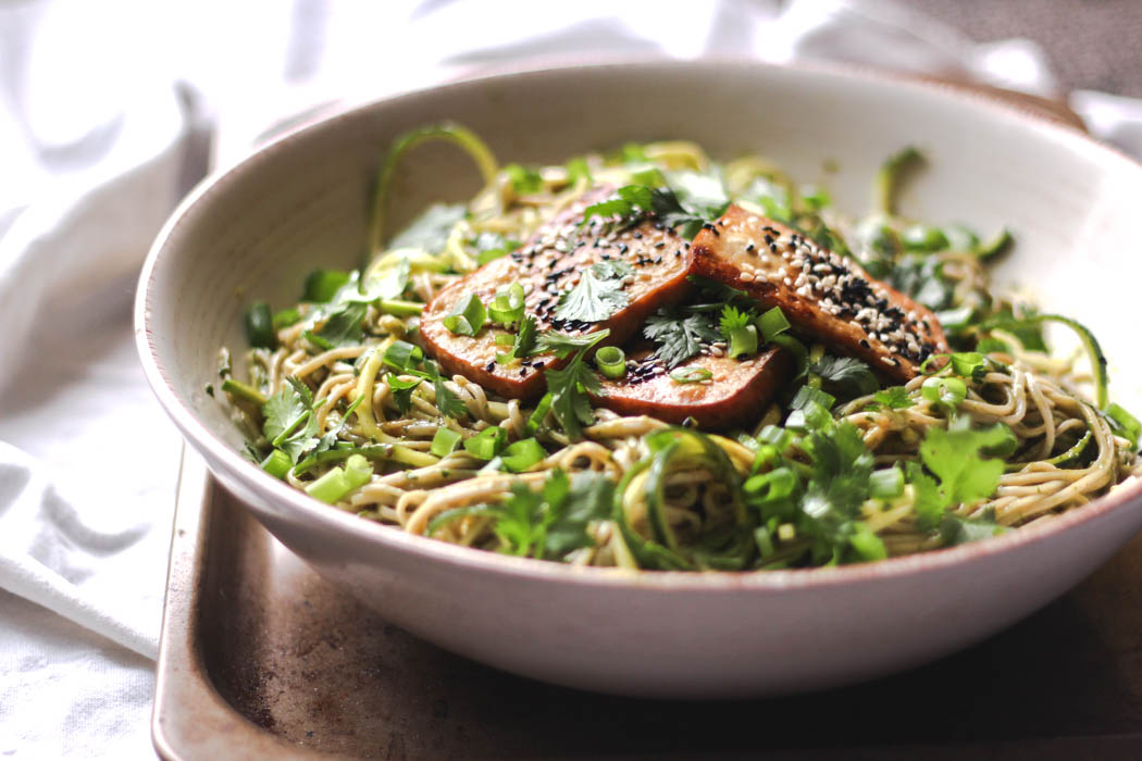Soba noodles with ginger-spiked green dressing and roasted tofu 2  - to her core