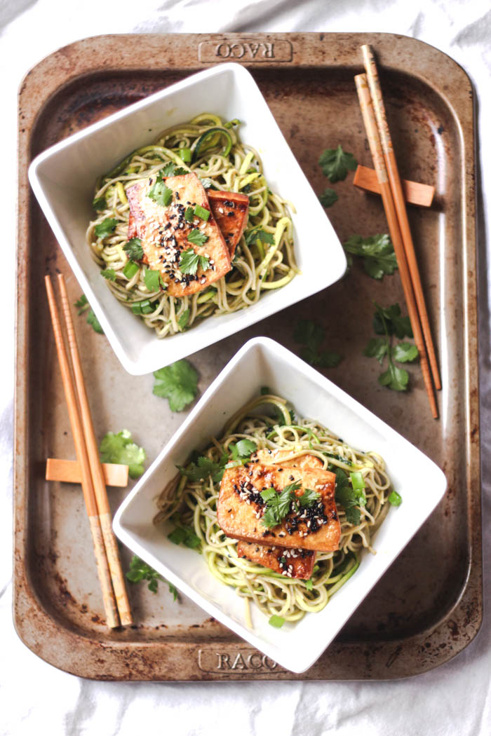 Soba noodles with ginger-spiked green dressing and roasted tofu 3  - to her core