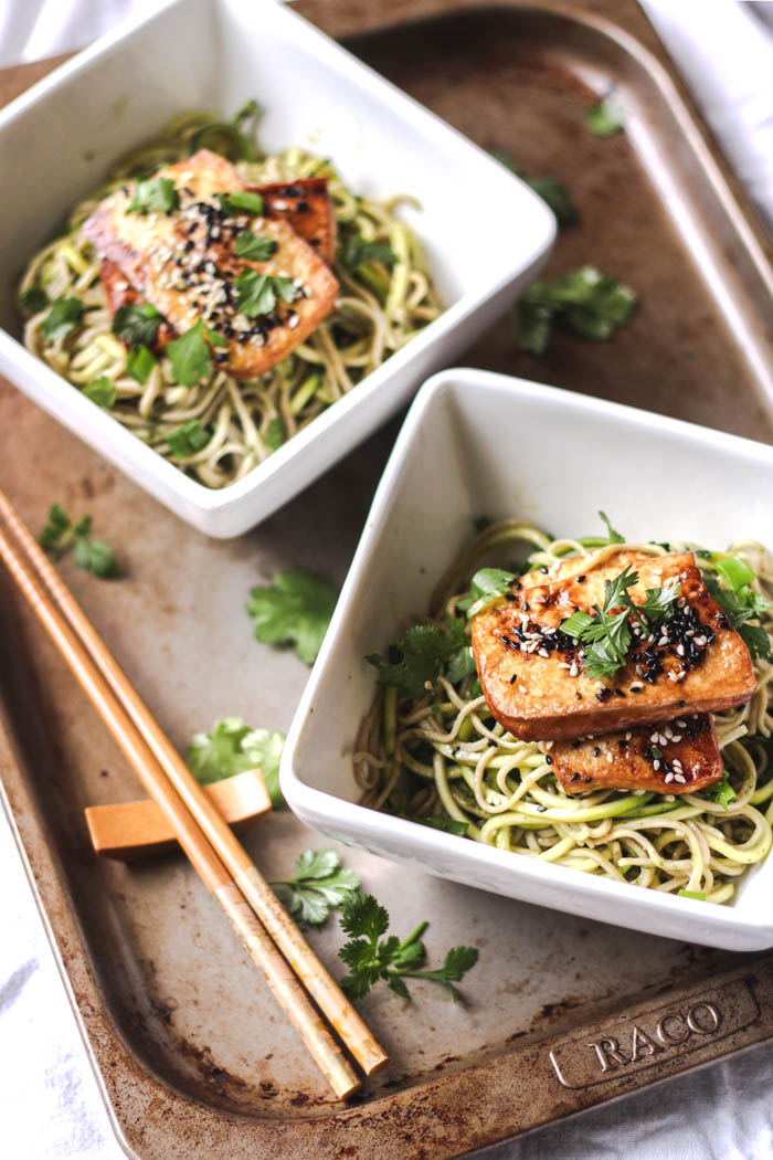 Soba noodles with ginger-spiked green dressing and roasted tofu 5 - to her core