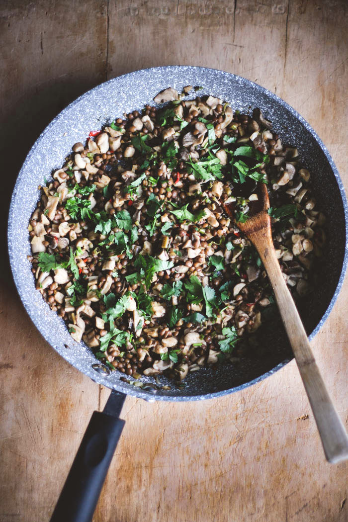Mushroom and lentil san choi bau - to her core