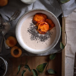 Charred apricot + buckwheat porridge