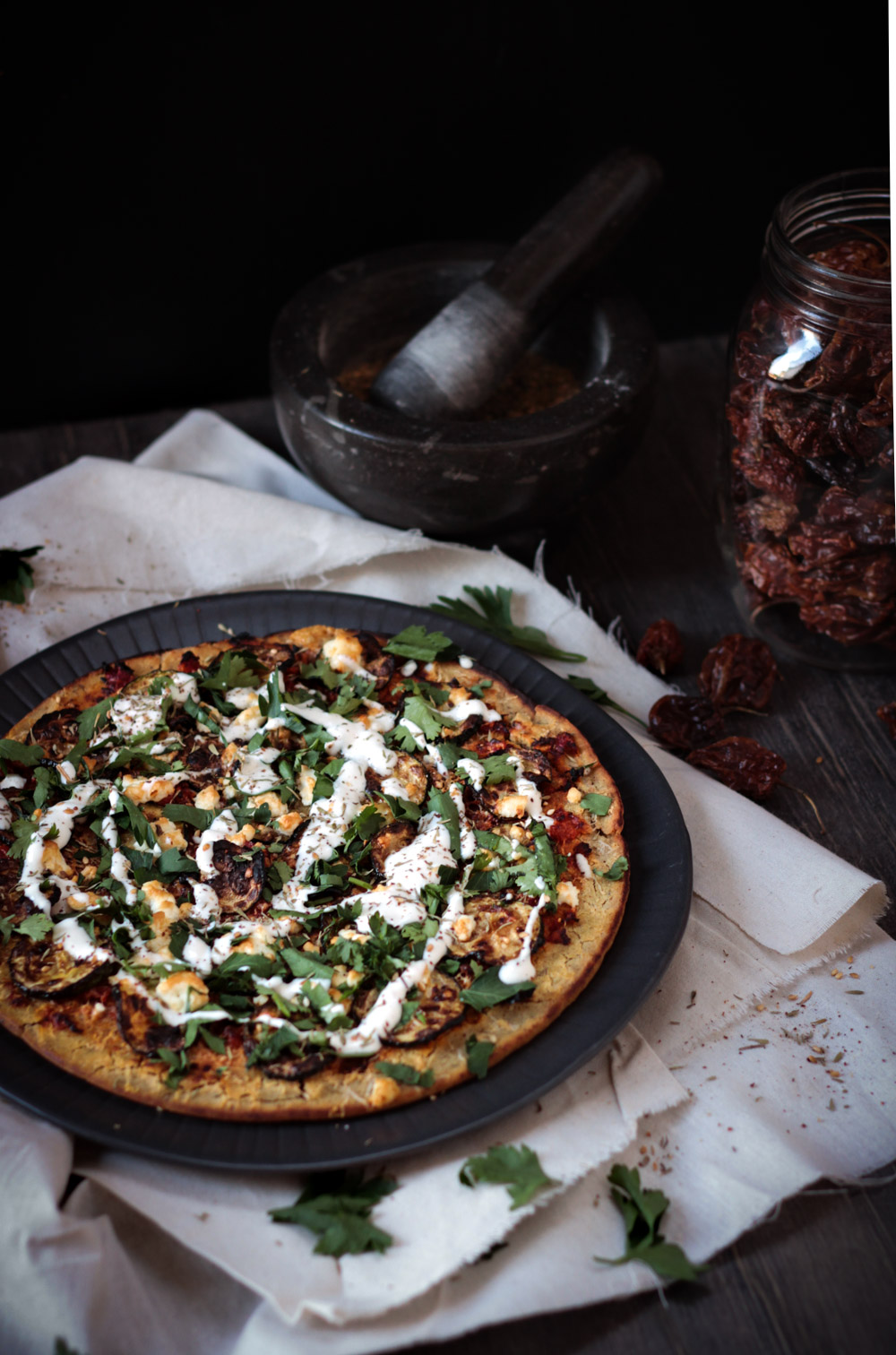 Moroccan-style socca pizza - to her core