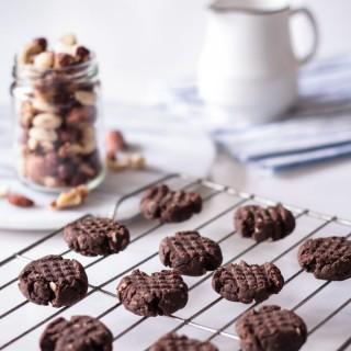 Nut-milk pulp chocolate fudge cookies