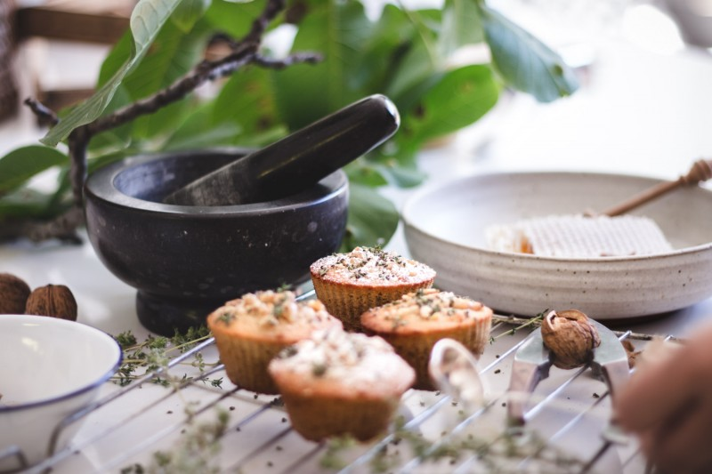 honey, walnut + thyme muffins - to her core 4