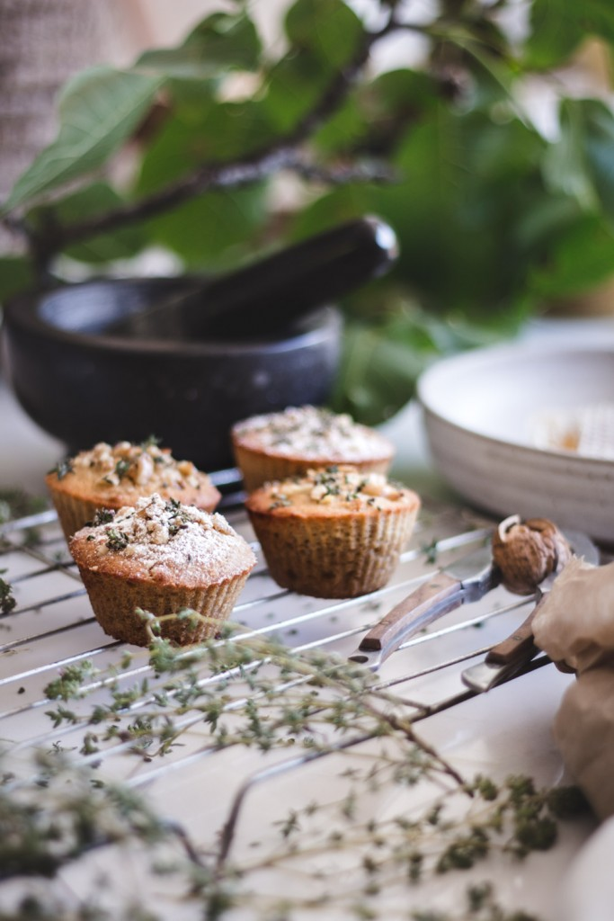honey, walnut + thyme muffins - to her core 6